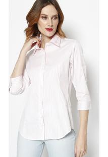 Camisa Listrada Com Botãµes- Rosa Claro & Off White- Dbz Jeans