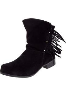 Bota Dafiti Shoes Cano Curto Franjas Preta