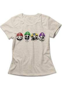 Camiseta Feminina Mario Skulls - Feminino-Mescla