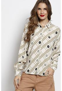 Camisa Texturizada- Off White & Verde Claro- Forumforum