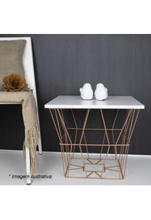 Mesa Quadrada Com Recorte Vazado- Branca & Bronze- 4Metaltru