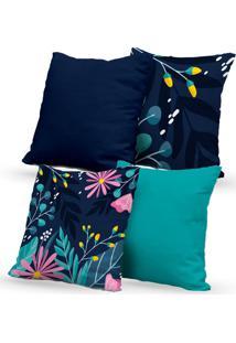 Kit 4 Capas Almofadas Decorativas Own Natureza Azul 45X45 - Somente Capa