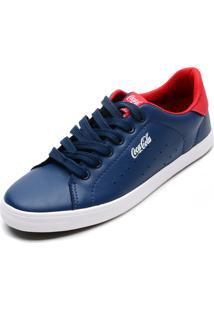 Sapatênis Coca Cola Shoes Perfuros Laterais Azul-Marinho