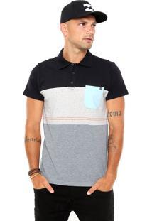 Camisa Polo Billabong Block Cinza/Preta/Azul