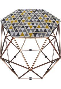 Puff D'Rossi Decorativo Aramado Geométrico Hexágono D97 Base Dourada