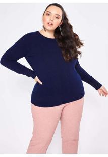Blusa Almaria Plus Size Garage Lã Lisa Azul