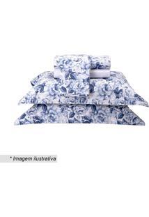 Jogo De Cama Taormina Queen Size- Branco & Azul- 4Pã§Sultan