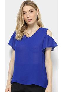 Blusa Holin Stone Recorte Ombro Transparência Feminina - Feminino-Azul Royal