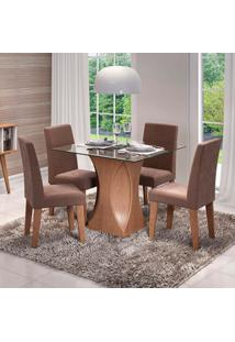 Conjunto De Mesa De Jantar Quadrada Andreia Com 4 Cadeiras Milena Suede Chocolate E Savana