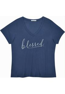 Blusa Básica Estampa Blessed Marinho