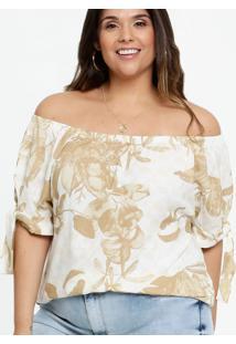 Blusa Feminina Ombro A Ombro Estampa Floral Plus Size Marisa