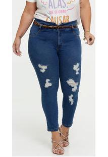 Calça Jeans Skinny Destroyed Feminina Plus Size Cambos Premium