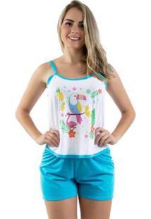 Pijama Linha Noite Feminino - Feminino-Azul