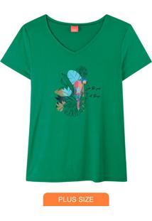 Blusa Verde Tropical Com Glitter