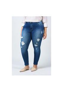 Calça Skinny Jeans Com Detalhe Rasgo Plus Size Jeans Blue Calça Skinny Jeans Com Detalhe Rasgo Plus Size Jeans Blue 46 Kaue Plus Size