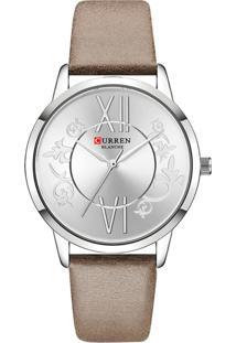 Relógio Curren Analógico C9049L Prata E Marrom
