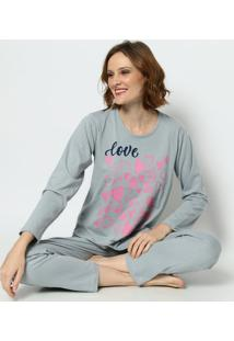 "Pijama ""Love Don'T Need Words""- Cinza & Rosa- Zulaizulai"