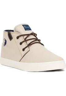 Tênis Casual Cano Alto Masculino Polo Shoes Long Canvas Bege