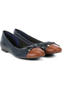 Sapatilha Couro Shoestock Bico Redondo Laço Feminina - Feminino-Marinho