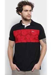 Camisa Polo Jimmy'Z Faixa Floral Masculina - Masculino-Preto
