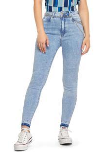 Calça Azul Claro Skinny Cintura Alta Jeans