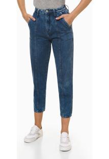 Calça Jeans Feminina Balloon Com Recorte Azul Médio Calvin Klein - 38
