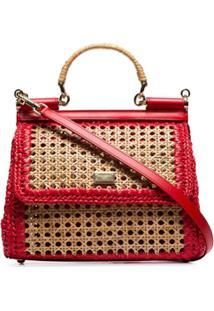 Dolce & Gabbana Bolsa Tiracolo Sicily De Palha - Vermelho