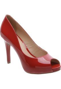 Peep Toe Envernizado- Vermelho- Salto: 10,2Cmarezzo & Co.