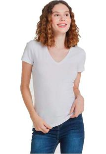 Blusa Feminina Básica Decote V Com Elastano Branco