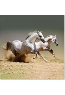 Quadro Cavalos Uniart Branco 30X30Cm