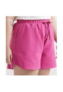 Short Básico Em Moletom Curve & Plus Size | Ashua Curve E Plus Size | Rosa | Eg