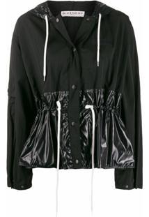 Givenchy Jaqueta Corta-Vento Cropped Com Franzido - Preto