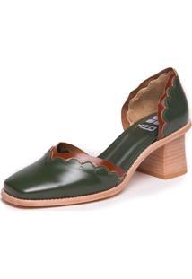 Sapato Mzq Salto Grosso Verde Militar Havana Metalizado Bronze - 9300