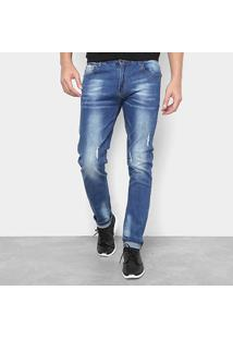 Calça Jeans Skinny Watkins&Krown Puidos Masculina - Masculino-Azul Claro