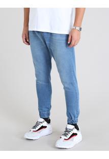 Calça Jogger Masculina Em Jeans Azul Claro