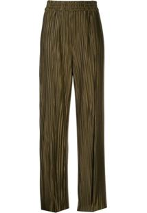 Alice+Olivia Pleated Wide Leg Trousers - Verde