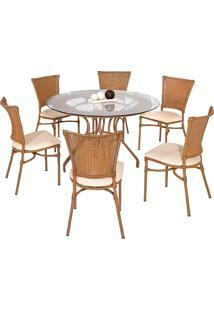 Conjunto Mesa Com 4 Cadeiras Veneza - Metal Do Brasil - Avela Envelhecido