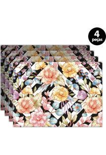 Jogo Americano Mdecore Floral 40X28Cm Preto 4Pçs