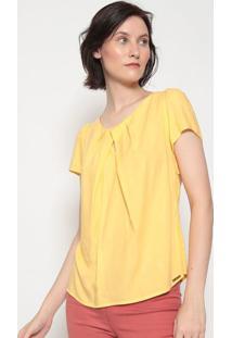 Blusa Texturizada Com Recortes Vazados- Amarela- Vipvip Reserva