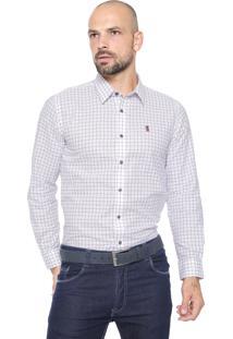 Camisa Sergio K Reta Quadriculada Branca/Vinho