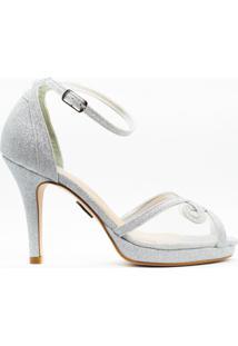 Sandália Salto Fino 10Cm Glitter Prata Cbk