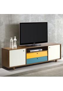 Rack Para Tv 2 Portas E 2 Gavetas Vintage 364 Nogal/Branco/Azul/Amarelo - Maxima
