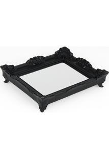 Bandeja Espelho Rococó Preta P 6X29X24Cm Trevisan Concept