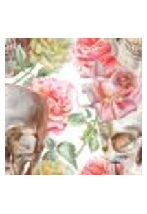 Papel De Parede Autocolante Rolo 0,58 X 3M - Flores Caveira 276210839