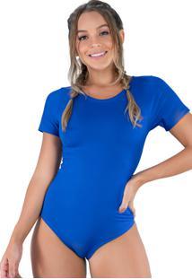 Body Mvb Modas Manga Curta Estampado Azul