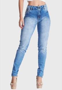 Calça Jeans Hno Jeans Skinny Estonada Ziper Na Barra Azul - Feminino