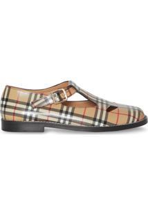 Burberry Sapato De Couro Xadrez Vintage - Marrom
