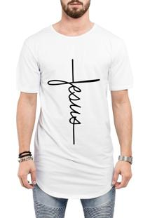 Camiseta Long Line Oversized Jesus Cristã Evangélica Gospel Religiosa Branca