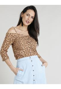 Blusa Feminina Open Shoulder Com Botões Estampada Animal Print Manga 3/4 Bege