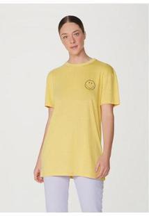 Camiseta Alongada Manga Curta Oversized Smiley® Feminina - Unissex